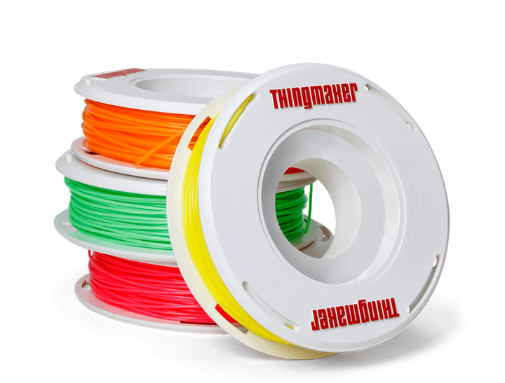 Spools of PLA plastic filament are used for 3D printing.