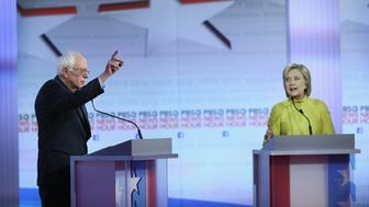 MILWAUKEE, WI - FEBRUARY 11:  Democratic presidential candidates Senator Bernie Sanders (L) and Hillary Clinton participate in the PBS NewsHour Democratic presidential candidate debate at the University of Wisconsin-Milwaukee on February 11, 2016 in Milwaukee, Wisconsin.The debate is the final debate before the Nevada caucuses scheduled for February 20.  (Photo by Win McNamee/Getty Images)