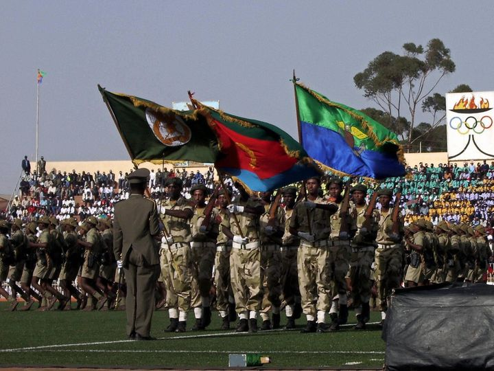 Eritrean soldiers parade during independence day celebrations in 2007. Afwerki has turned from a popular rebel