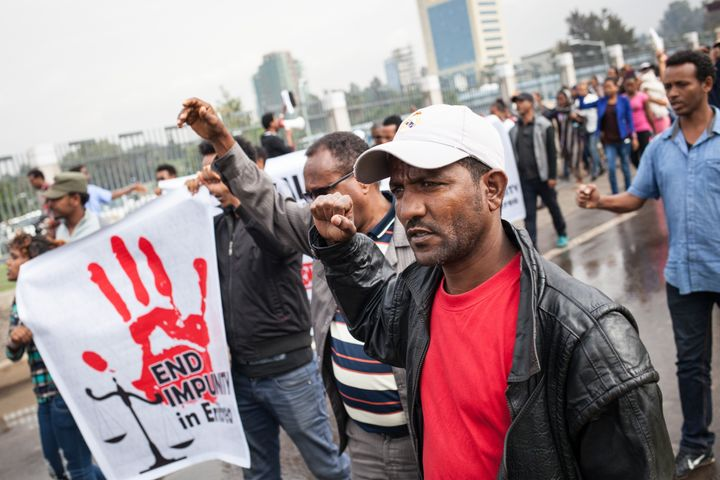 Hundreds of Eritreans demonstrate in front of the African Union headquarters in Addis Ababa after the U.N. inquiry report&nbs