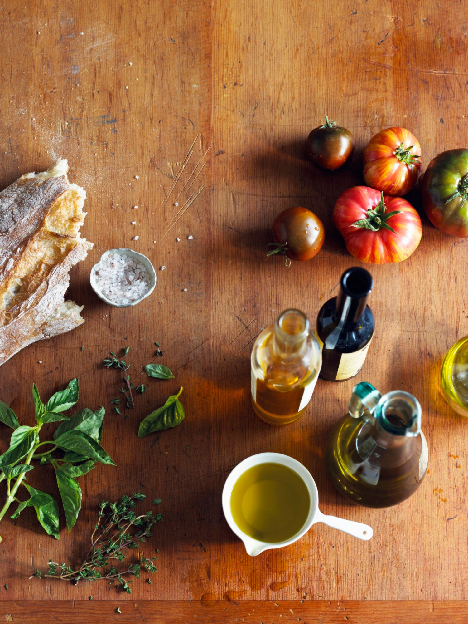 Italian cooking ingredients on a cutting board