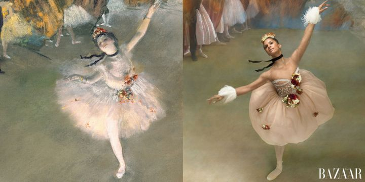 "Copeland beautifully re-creates Degas's ""The Star"" in a Valentino dress."