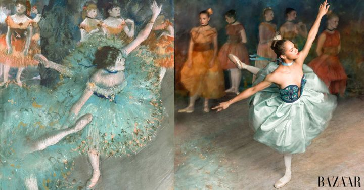 "Copeland nails Degas' ""Swaying Dancer (Dancer in Green)"" while wearing an Oscar de la Renta dress."