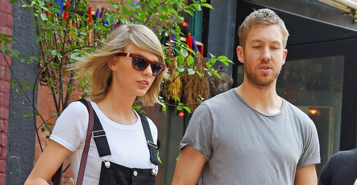 Taylor Swift and Calvin Harris get lunch at the Spotted Pig on May 28, 2015 in New York.