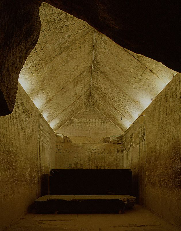 This is the Pyramid of Unas, in Egypt. The interior walls of the structure are inscribed with the Pyramid