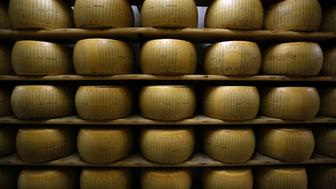 Parmigiano-Reggiano cheeses sit on storage racks during the aging process at Coduro cheesemakers in Fidenza, Italy, on Thursday, Sept. 11, 2014. Russian stores have run out of imported salmon and cheeses such as Parmigiano-Reggiano, Camembert and Brie, leading retailers like Metro AG's Cash & Carry unit to look for replacements, according to an e-mailed statement. Photographer: Alessia Pierdomenico/Bloomberg via Getty Images