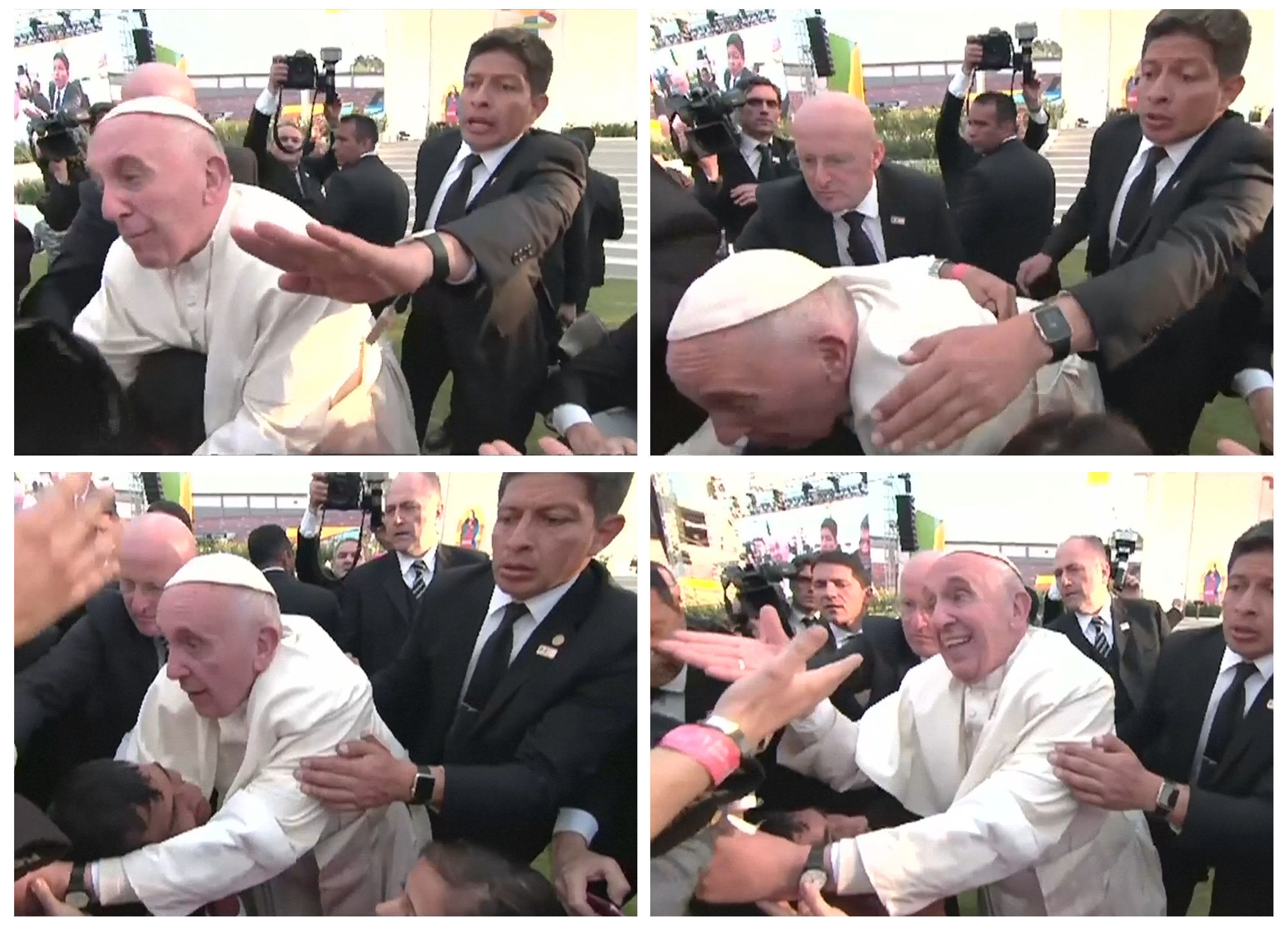 "Pope Francis is pulled towards the crowd, over a child in a wheelchair, during a visit to a stadium in Morelia, Mexico on February 16, 2016 in a combination of still image from pool video. Pope Francis, who is usually calm and accommodating with his admirers, clearly lost his temper with a person who pulled on him so hard that he fell onto a child on a wheel chair. Video footage showed that while the pope was walking at the edge of a crowd in an stadium, he stopped to greet children who were sitting. Two arms reached out to grab him and the person would not let go, even after the pope lost his balance and his chest was pressing on the child's head. Aides and security men stopped the pope from falling to the ground. After he returned to an upright position, his face turned angry. He looked at the person, raised his voice and said twice in Spanish: ""Don't be selfish!"". Images taken February 16, 2016.  REUTERS/Mexican Government Televison/POOL via Reuters TV  TPX IMAGES OF THE DAYFOR EDITORIAL USE ONLY. NOT FOR SALE FOR MARKETING OR ADVERTISING CAMPAIGNS - RTX27DVU"