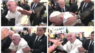 """Pope Francis is pulled towards the crowd, over a child in a wheelchair, during a visit to a stadium in Morelia, Mexico on February 16, 2016 in a combination of still image from pool video. Pope Francis, who is usually calm and accommodating with his admirers, clearly lost his temper with a person who pulled on him so hard that he fell onto a child on a wheel chair. Video footage showed that while the pope was walking at the edge of a crowd in an stadium, he stopped to greet children who were sitting. Two arms reached out to grab him and the person would not let go, even after the pope lost his balance and his chest was pressing on the child's head. Aides and security men stopped the pope from falling to the ground. After he returned to an upright position, his face turned angry. He looked at the person, raised his voice and said twice in Spanish: """"Don't be selfish!"""". Images taken February 16, 2016.  REUTERS/Mexican Government Televison/POOL via Reuters TV  TPX IMAGES OF THE DAYFOR EDITORIAL USE ONLY. NOT FOR SALE FOR MARKETING OR ADVERTISING CAMPAIGNS - RTX27DVU"""
