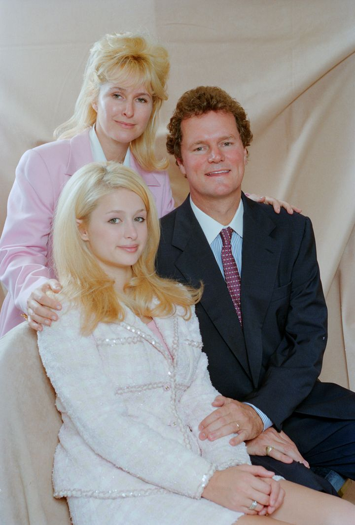 Paris Hilton with her parents, Kathy and Richard Hilton, July 5, 1996.