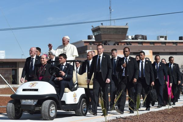 Pope Francis visits the CeReSo n. 3 penitentiary in Ciudad Juarez, Mexico.