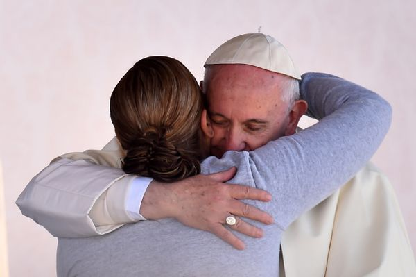 Pope Francis is greeted by a female inmate during his visit to the CeReSo n. 3 penitentiary in Ciudad Juarez, Mexico.