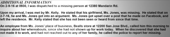 An excerpt from the incident report filed with the Jacksonville Sheriff's Office.