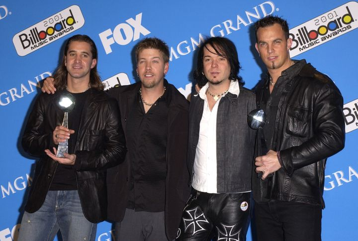 """Creed was together for more than a decade. Stapp, far left, says he was """"devastated"""" when they split in 2004."""