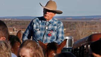 KANAB, UT - FEBRUARY 5: Cliven Bundy rides a horse after attending the funeral of of fellow rancher Robert 'LaVoy' Finicum on February 5, 2016 in Kanab, Utah. Finicum who was part of the Burns, Oregon standoff with federal officials was shot and killed by FBI agents when they tried to detain him at a traffic stop on February 27, 2016. ( Photo by George Frey/Getty Images