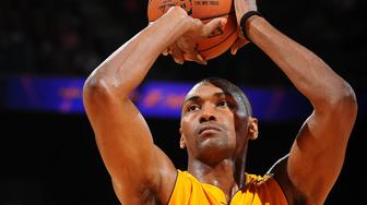 ONTARIO, CA - OCTOBER 8:  Metta World Peace #37 of the Los Angeles Lakers prepares to shoot a free throw against the Toronto Raptors during a preseason game on October 8, 2015 at Citizens Business Bank Arena in Ontario, California. NOTE TO USER: User expressly acknowledges and agrees that, by downloading and/or using this Photograph, user is consenting to the terms and conditions of the Getty Images License Agreement. Mandatory Copyright Notice: Copyright 2015 NBAE (Photo by Juan Ocampo/NBAE via Getty Images)