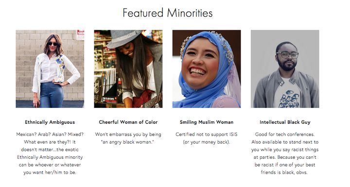"""The """"Featured Minorities"""" portion on the homepage sarcastically touts that they were """"vetted to ensure they are not 'too blac"""