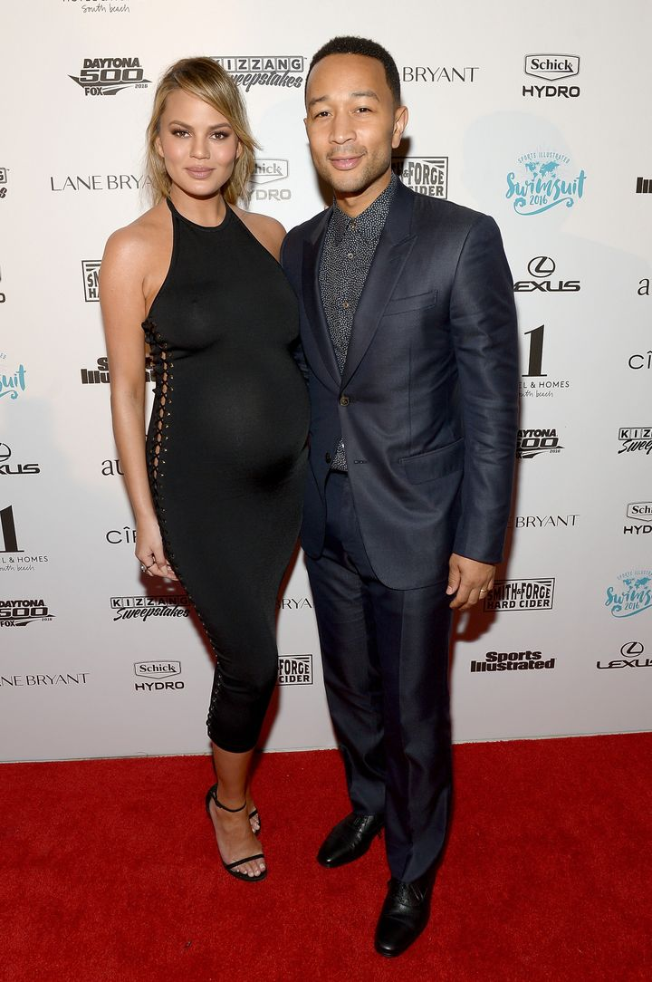 Chrissy Teigen and John Legend looking great at the Sports Illustrated Swimsuit 2016 Swim BBQ VIP on Wednesday.