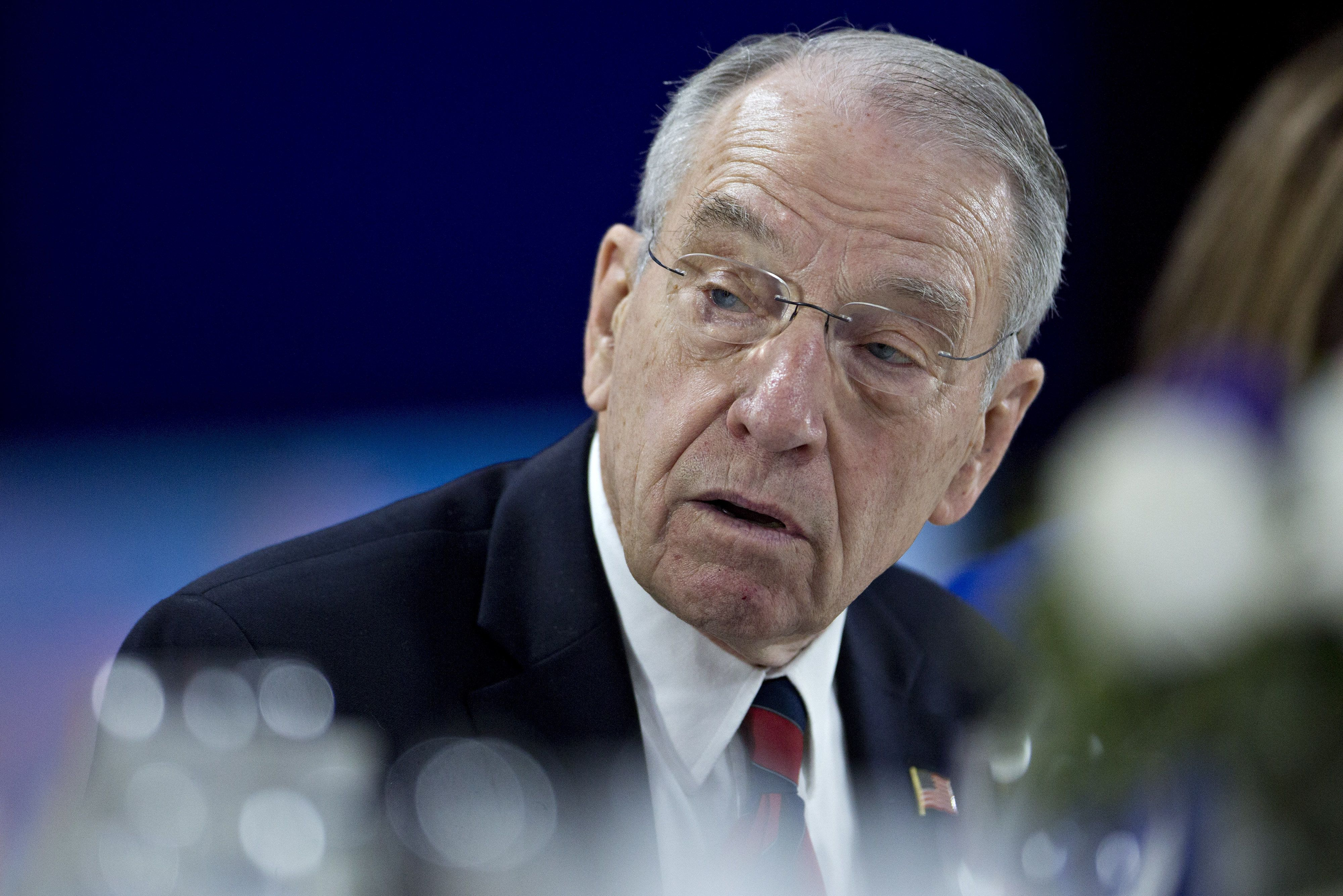 Senator Charles 'Chuck' Grassley, a Republican from Iowa, speaks during a Bloomberg Politics interview in Des Moines, Iowa, U.S., on Monday. Feb. 1, 2016. Grassley said Republican presidential front runner Donald Trump represents the unknown because he's a business leader, but has not been politically vocal except for the past several months.