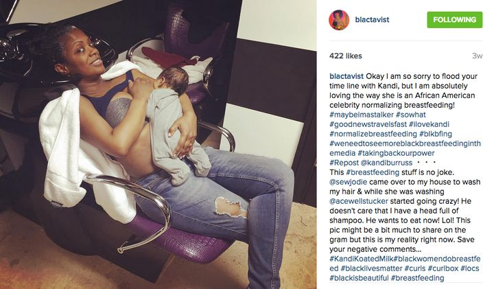 Kandi Burruss, singer-songwriter and television personality, breastfeeding. The image first appeared on Burruss' Instagram account, @kandiburruss.