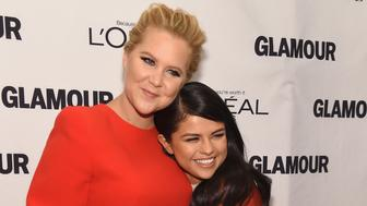 NEW YORK, NY - NOVEMBER 09:  Comedian Amy Schumer (L) and recording artist Selena Gomez attend 2015 Glamour Women Of The Year Awards at Carnegie Hall on November 9, 2015 in New York City.  (Photo by Jamie McCarthy/Getty Images for Glamour)