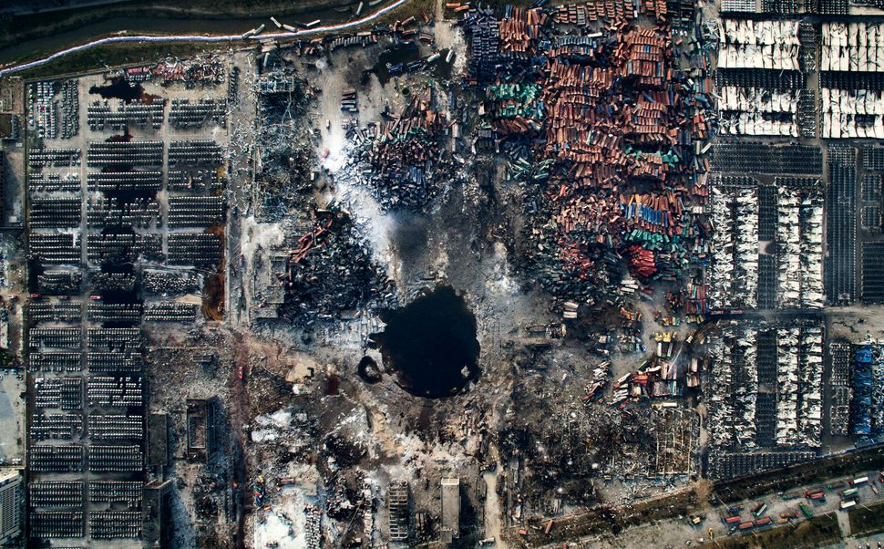 Aerial view of the destruction after a series of explosions at a chemical warehouse in Tianjin, China, on Aug. 15, 2015.