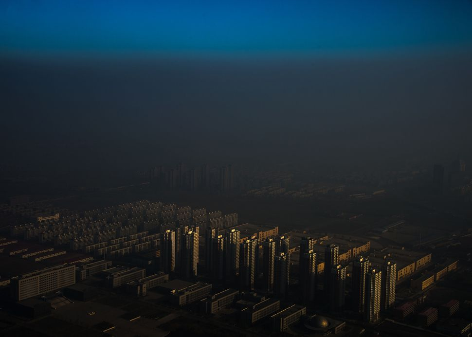 A city in northern China shrouded in haze, Tianjin, China, on Dec. 10, 2015.