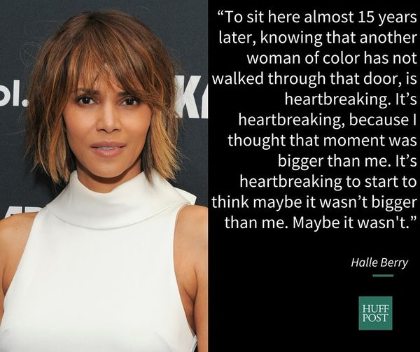 "On the fact that she's <a href=""http://variety.com/2016/biz/news/halle-berry-oscar-diversity-heartbreaking-1201695905/"" targe"