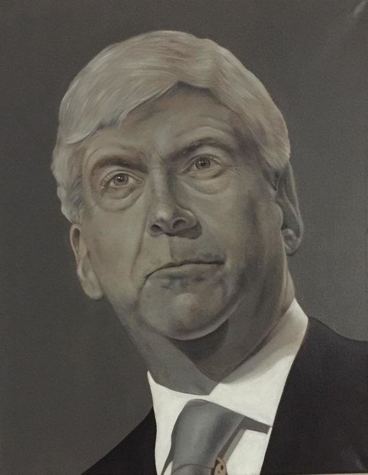 """Artist Michael Dykehouse used lead paint to create """"Lead Head,"""" a portrait of Michigan Gov. Rick Snyder (R), as a response to"""