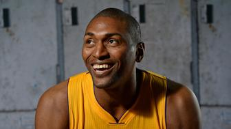 EL SEGUNDO, CA - SEPTEMBER 28:  Metta World Peace #37 of the Los Angeles Lakers poses for a portrait during media day at Toyota Sports Center on September 28, 2015 in El Segundo, California. NOTE TO USER: User expressly acknowledges and agrees that, by downloading and/or using this Photograph, user is consenting to the terms and conditions of the Getty Images License Agreement. Mandatory Copyright Notice: Copyright 2015 NBAE (Photo by Aaron Poole/NBAE via Getty Images)