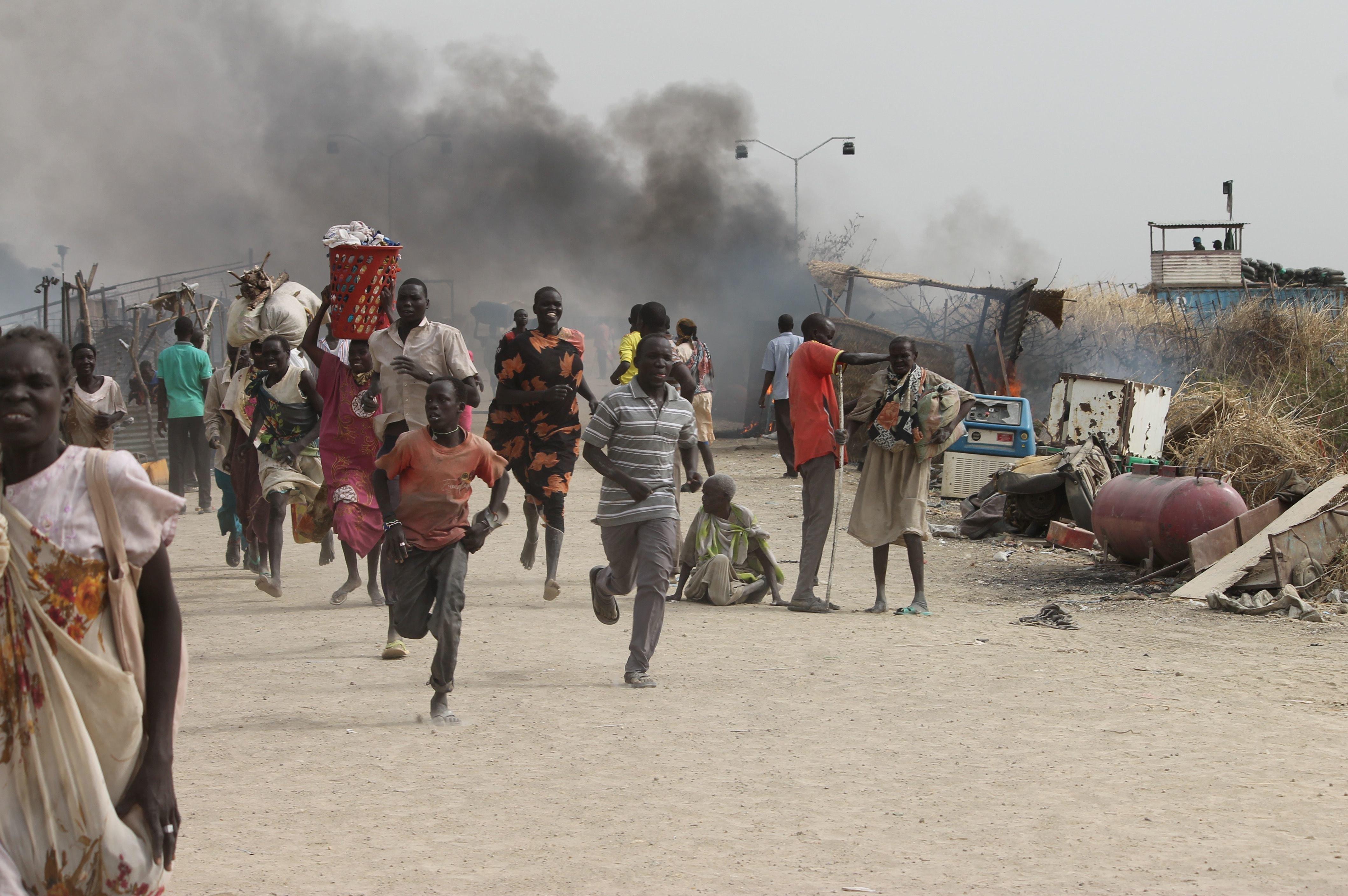 Gunmen opened fire on the UN base in Malakai where civilians had been sheltering.