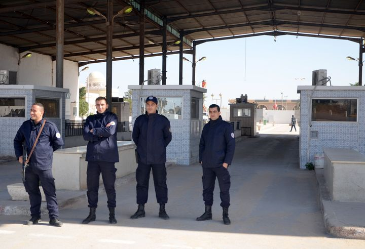 Tunisian police guard the Tunisian-Libyan border. The country's police believe Islamic State fighters have been trained in ca