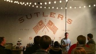 Scot Sanborn talks about his gin and rum during a recent tour at his distillery, Sutler Spirit Co., in Winston-Salem, North Carolina.