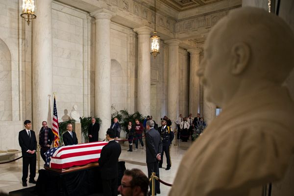 The casket of Associate Supreme Court Justice Antonin Scalia lies in repose in the Great Hall at the U.S. Supreme Court, Feb.