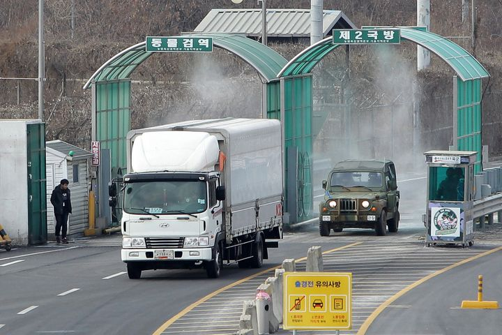 A vehicle arriving from the Kaesong joint industrial complex in North Korea at the inter-Korean transit office on February 11