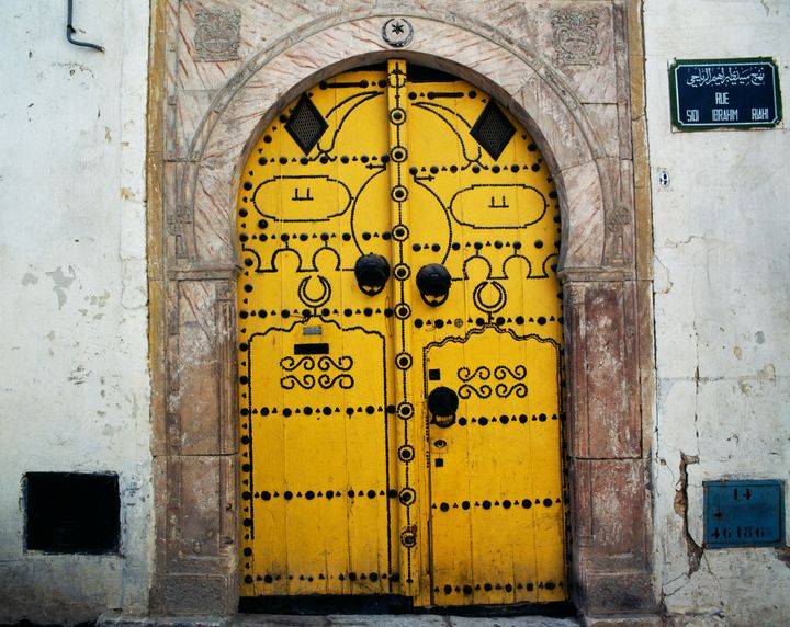 Door of a building in the Tunis medina, Tunis, Tunisia.