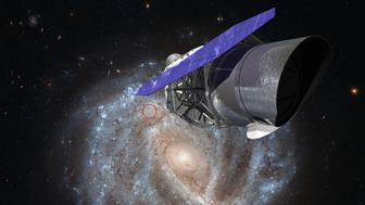 A rendering of WFIRST with an image of the spiral galaxy NGC 2441. A type Ia supernova, SN1995E, is circled in red. A scientific team including Berkeley Lab and UC Berkeley scientists will use WFIRST to gather precise measurements from type Ia supernovae that will provide new insight on dark energy.