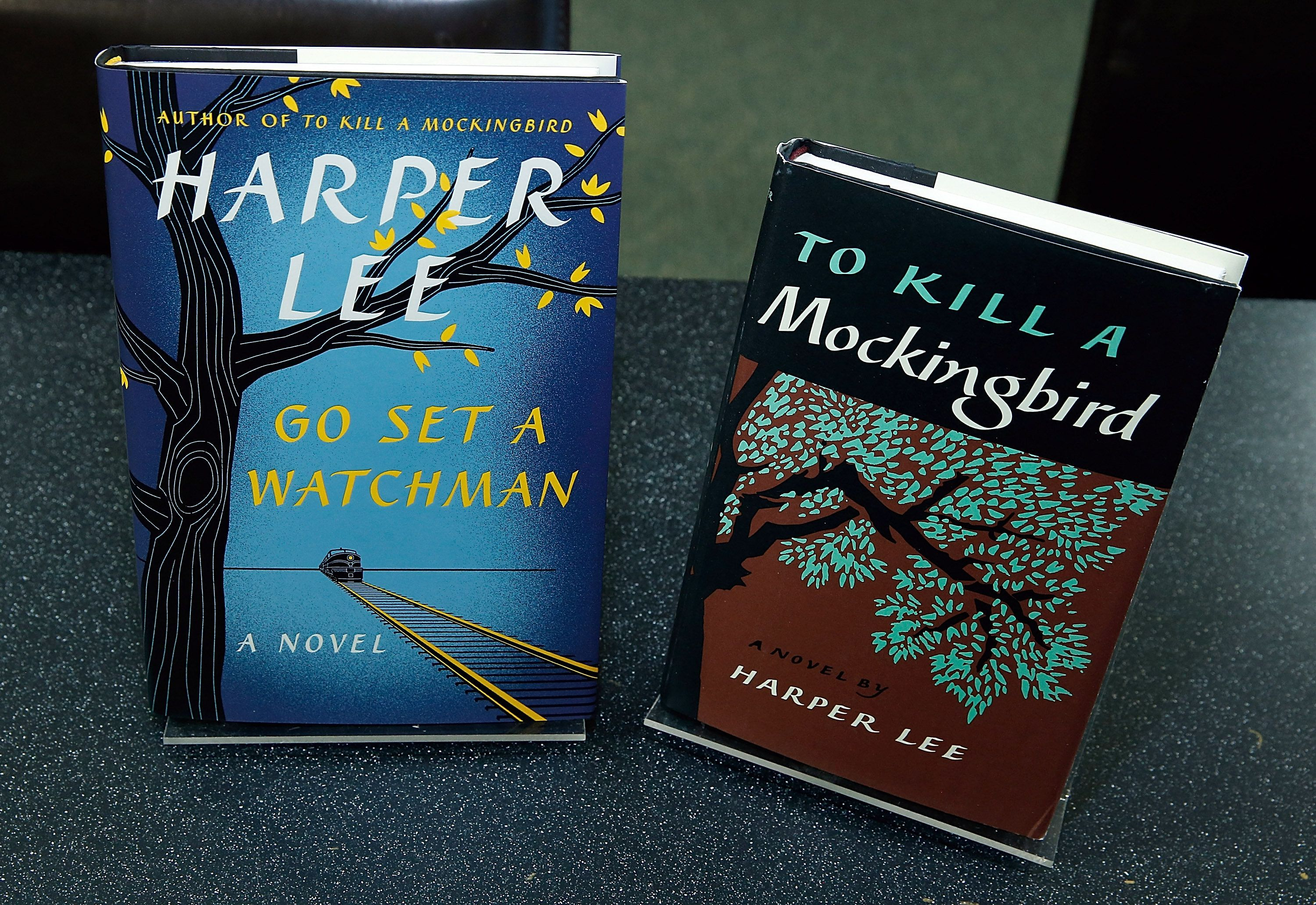 NEW YORK, NY - JULY 13:  Harperl Lee's recently found edition of 'Go Set a Watchman' to be released on July 14 is exhibited  along a new edition of ' To Kill a Mockingbird' by the same author during theHarper Lee celebration with Wally Lamb and Leslie Uggams in conversation with Bill Goldstein at Barnes & Noble Union Square on July 13, 2015 in New York City.  (Photo by John Lamparski/WireImage)
