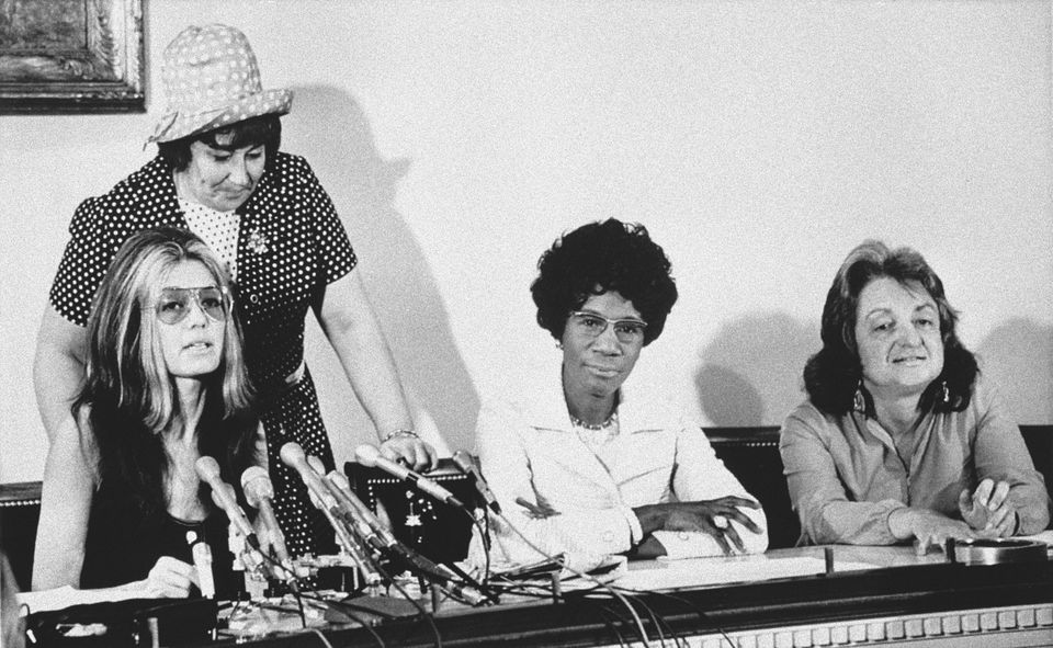 Members of the National Women's Political Caucus tell a Washington news conference on July 12, 1971 one of their goals is tha