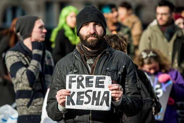 Kesha fans protest Sony Music Entertainment outside New York State Supreme Court on February 19, 2016...