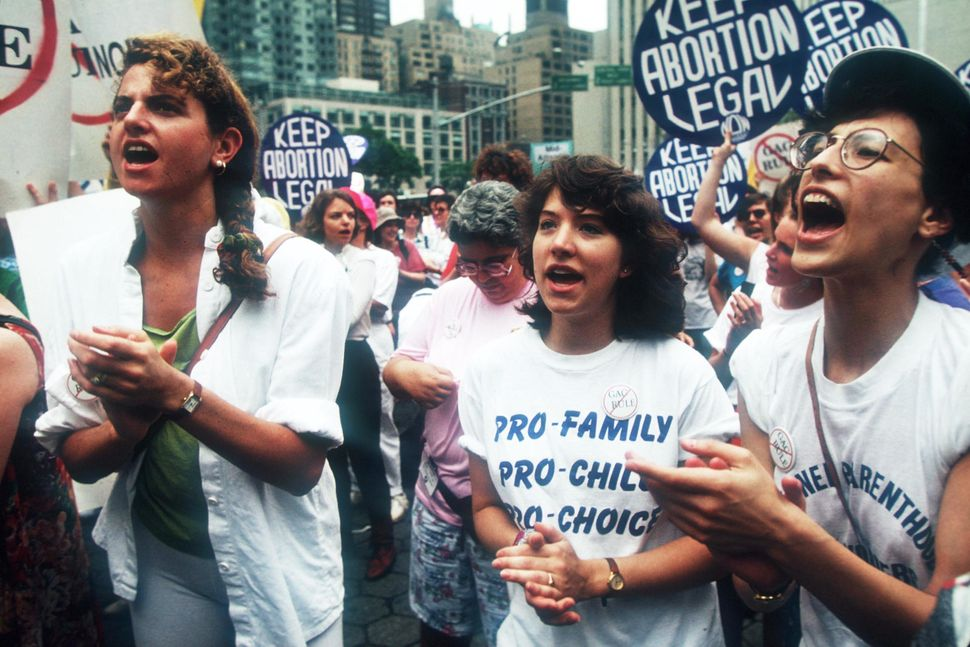 Women protest at the National Organization for Women Pro-Choice rally June 15, 1991 in New York City. In 1967 NOW became the