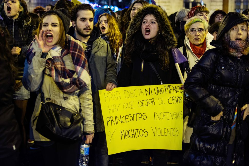 Women protesting against gender-based violence during a demonstration on Valentines Day in Madrid, Spain on Feb. 14, 2016.