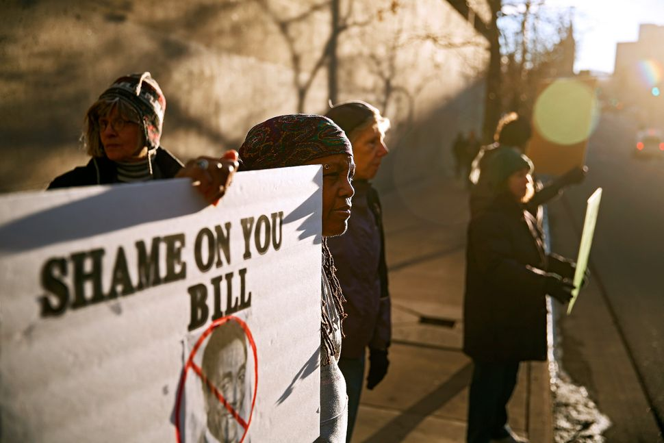 Protesters including Sherry Weston of Denver, Colorado demonstrate outside of Bill Cosby's comedy show on January 17, 2015 at