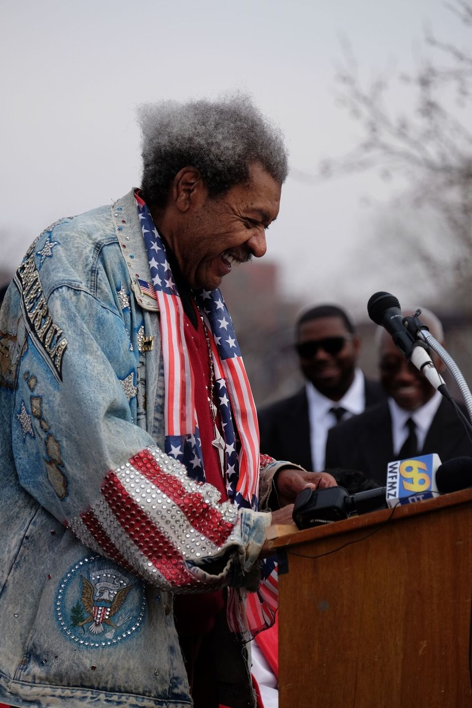 Don King speaking at Larry Holmes' statue unveiling on December 13.<br><br>Credit: Claudine Wolf
