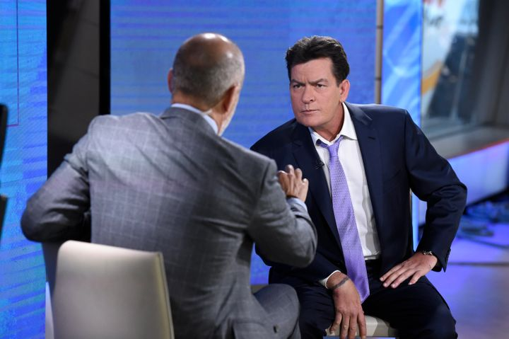 Charlie Sheen sits with Matt Lauer in the 2015interview about his HIV diagnosis.