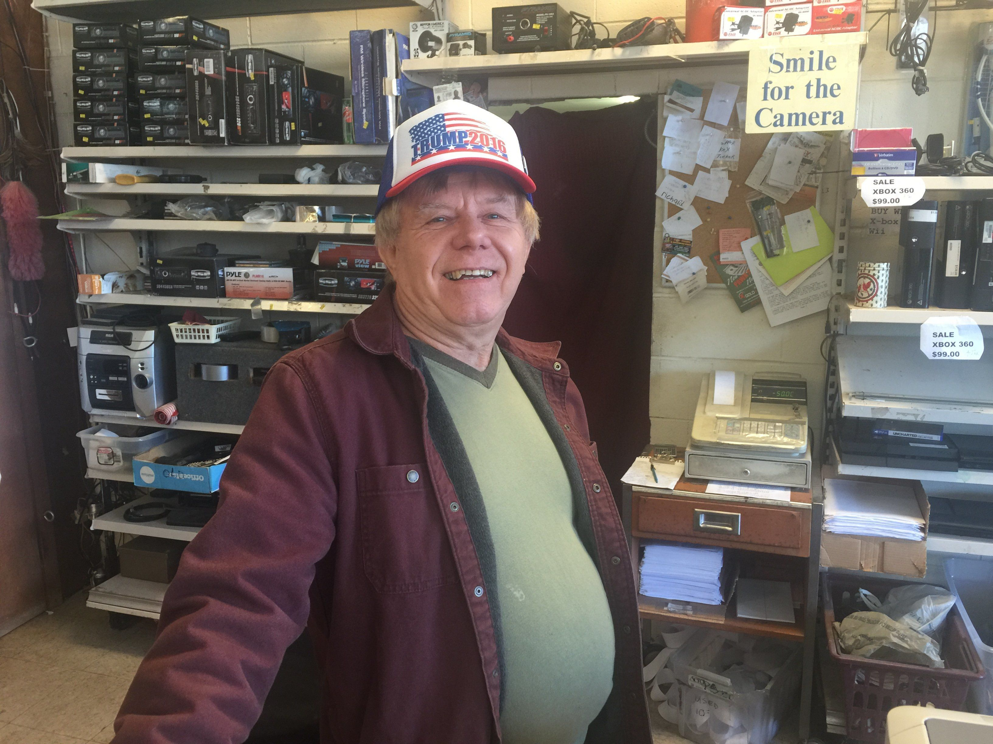 Richard Weisner, the owner of Rich's Pawn Shop in Laurens, South Carolina, is a big Donald Trump supporter.