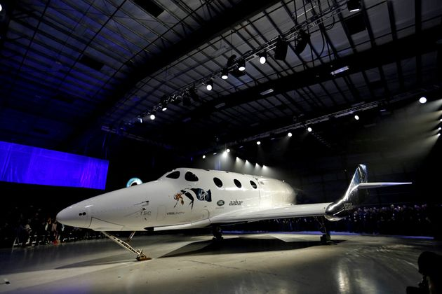 The new Virgin Galactic SpaceShipTwo at its roll out in the Mojave Desert, about a year and a half after...