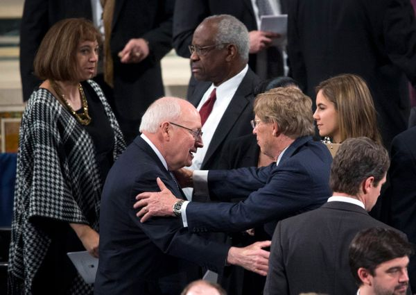 Former Vice President Dick Cheney, left, and Supreme Court Justice Clarence Thomas at the funeral Mass for Associate Jus