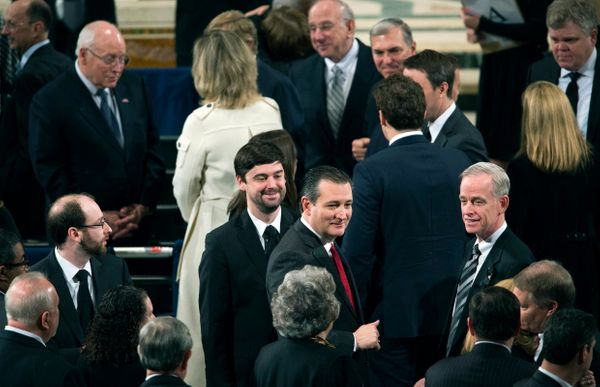 Republican presidential candidate Sen. Ted Cruz (R-Texas), center, and former U.S. Vice President Dick Cheney, upper left, ta