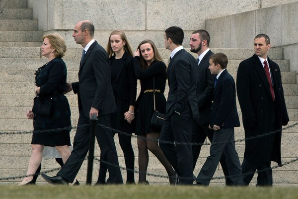 Family members of the late Supreme Court justice Antonin Scalia arrive for his funeral at the Basilica of the National Shrine