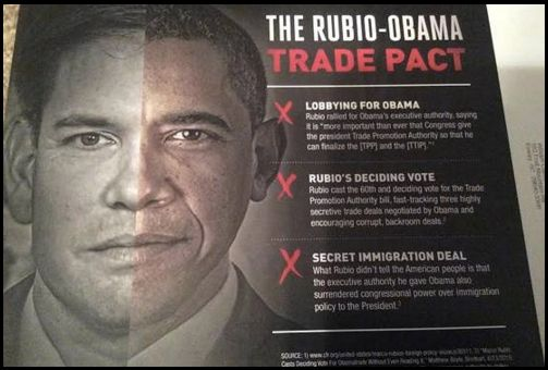 Cruz's team has pushed out mailers that seemingly darken Sen. Marco Rubio's (R-Fla.) skin while tying him to President Barack